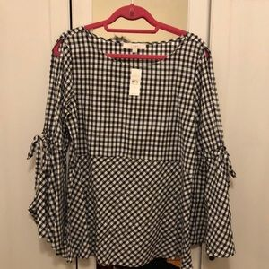 Gingham black and white top